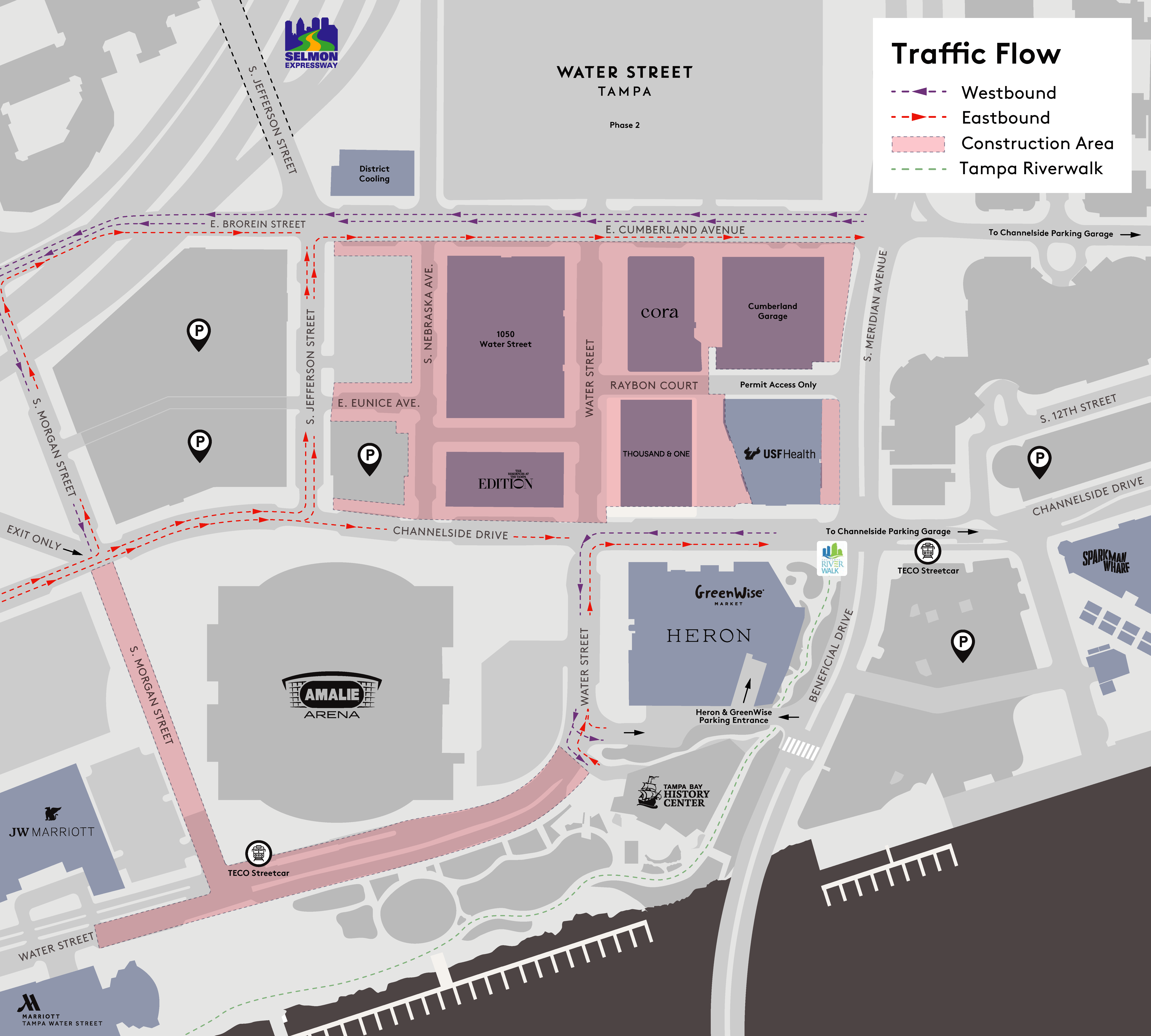 Map of closures and open lanes in the Water Street Tampa neighborhood
